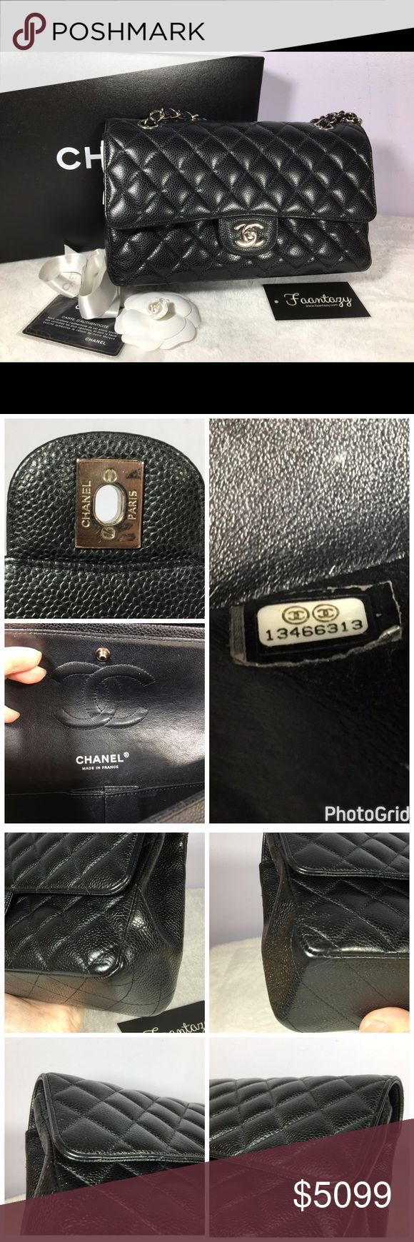 Auth Chanel medium double flap cavair 100%authentic Chanel Double flap caviar bag. Excellent used condition with light rubbing on corners. Some hairline scratches on hardware. Comes with box, card, ribbon, serial seal intact CHANEL Bags Crossbody Bags