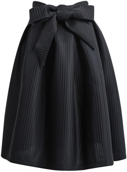 Shop Black Bow Vertical Stripe Skirt online. SheIn offers Black Bow Vertical Stripe Skirt & more to fit your fashionable needs.