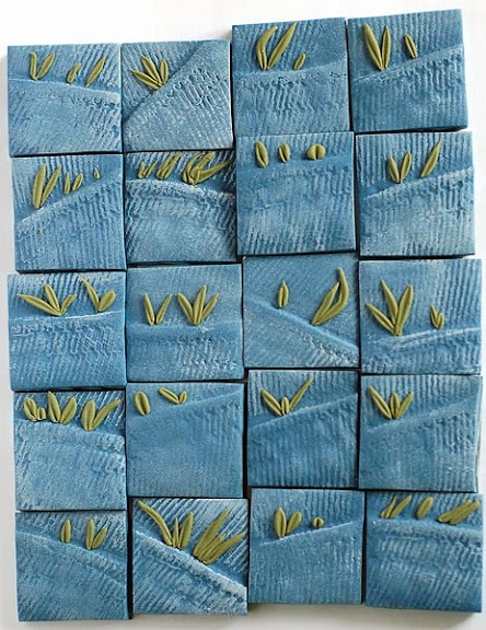 I believe these are polymer clay, but this would be a cute idea for embroidery on plain jeans.