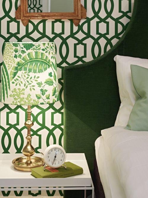 Trellis wallpaper, hunter green upholstered headboard