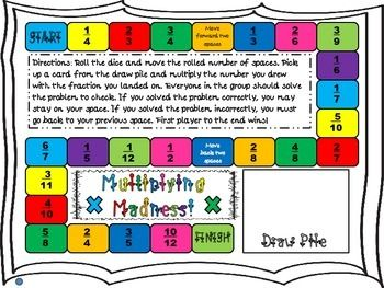 This game required students to move around a game board, landing on a fraction and pulling a whole number card to multiply the fraction by. There are two different boards, higher level and lower level, as well as colored and black outlined. I recommend either printing out the board game/cards on card stock or backing it with construction paper.