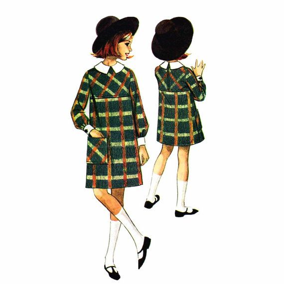 1960s Girls High Waist Dress Helen Lee McCalls 7883 Childrens Vintage Sewing Pattern Size 6