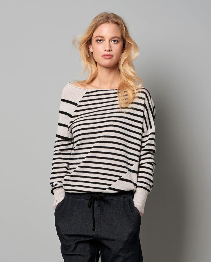 Nieuwe collectie Yaya in Paleis  - gestreepte shoulder top zwart wit