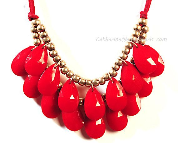 Red Bubble Necklace Red Statement Necklace Bib by BubbleJewellery, $6.70