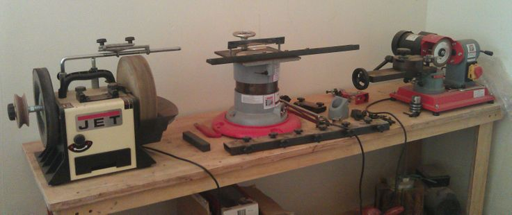 Various grinding machines, for saw blades, planer knives, chisels, ect.