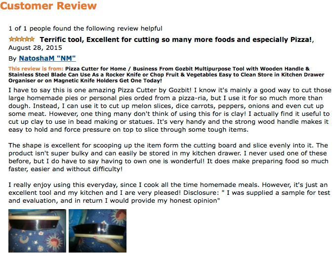 Cool Amazon Review on the Gozbit Pizza Cutter!