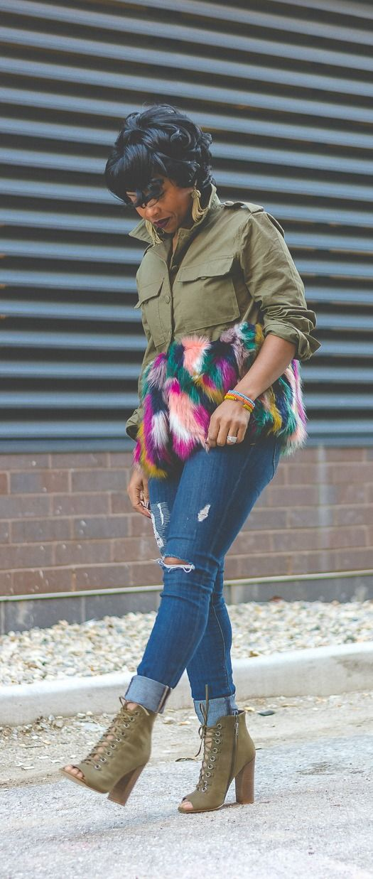 Fur jacket, army green, Cargo jacket, Booties, Express Denim, Distressed denim, Indy Blogger, Indy Style, Sweenee Style, Fur