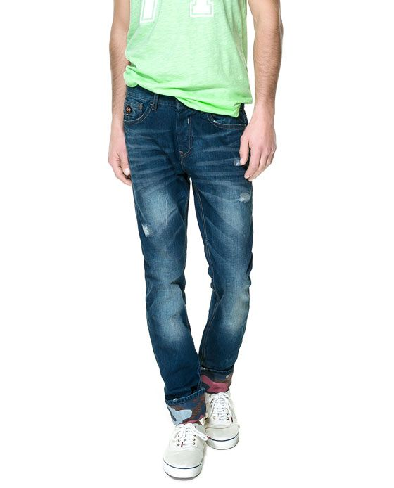 ZARA - MAN - JEANS WITH PRINTED TURN-UP