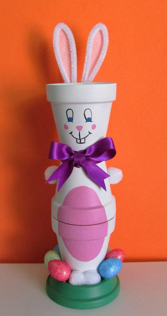 Hand-Painted Clay Pot Easter Bunny Shelf-sitter by BrenDecor
