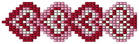 string of hearts beading pattern --lovely as  bracelet or watch strap (instructions free) but also would work as cross stitch graph for darling <3 border!