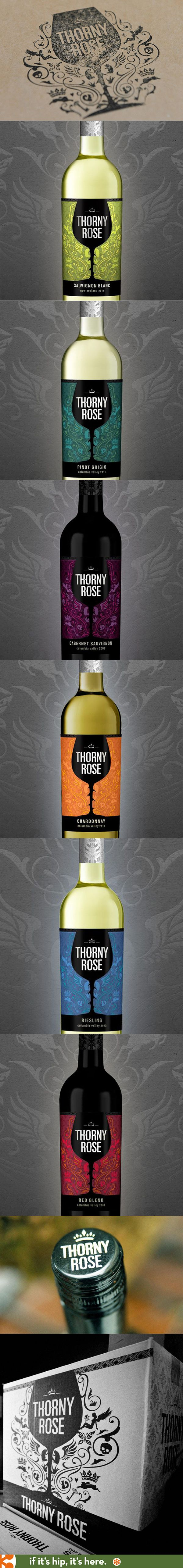 The lovely labels, shipping cartons and logo for Thorny Rose Wines.