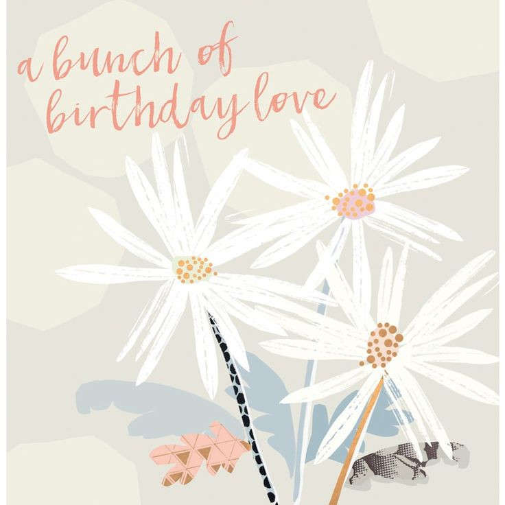 """Beautiful floral birthday card featuring contemporary colours and a pretty bunch of flowers. With caption: """"A Bunch Of Birthday Love"""""""