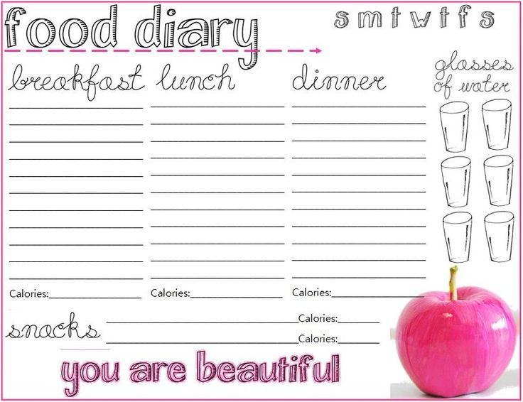 the best way to stay on track? with a write down what you eat! Print out these food diary cards to help you stay on track