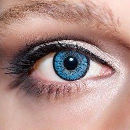 Blaue Kontaktlinsen farbige hellblaue Linsen von KwikSibs, Kristallblaue 2-farbig auch mit Stärken