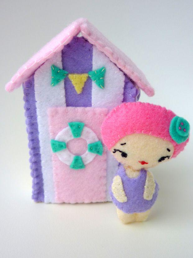 Handmade Pastel Felt Beach Hut and Swimming Doll (pattern by Noia Land)