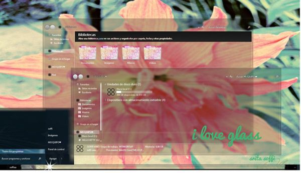 I LOVE GLASS for windows 7 desktops themes - free Windows 7 Visual Styles, Windowblinds, Miscellaneous themes download