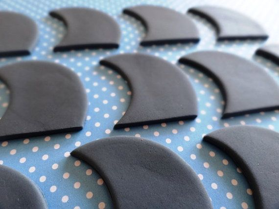 12 Fondant edible cupcake toppers  Shark fins by TopCakeDecors, $12.00