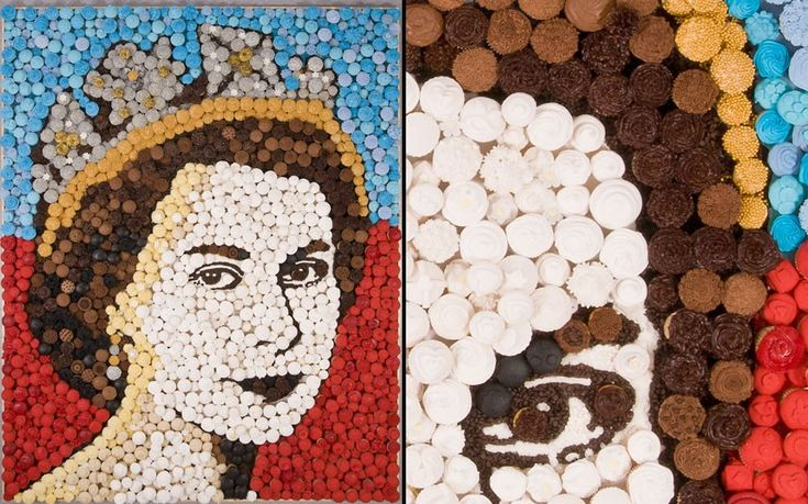 10/05/2012 The Queen has been immortalised in a portrait made of hand-decorated 2,012 cupcakes. Her Majesty's face has been portrayed in a giant artwork called 'Cupcake Queen'. Leeds-based baking brand Dr Oetker commissioned food artist Prudence Staite to create the picture to celebrate the Diamond Jubilee.