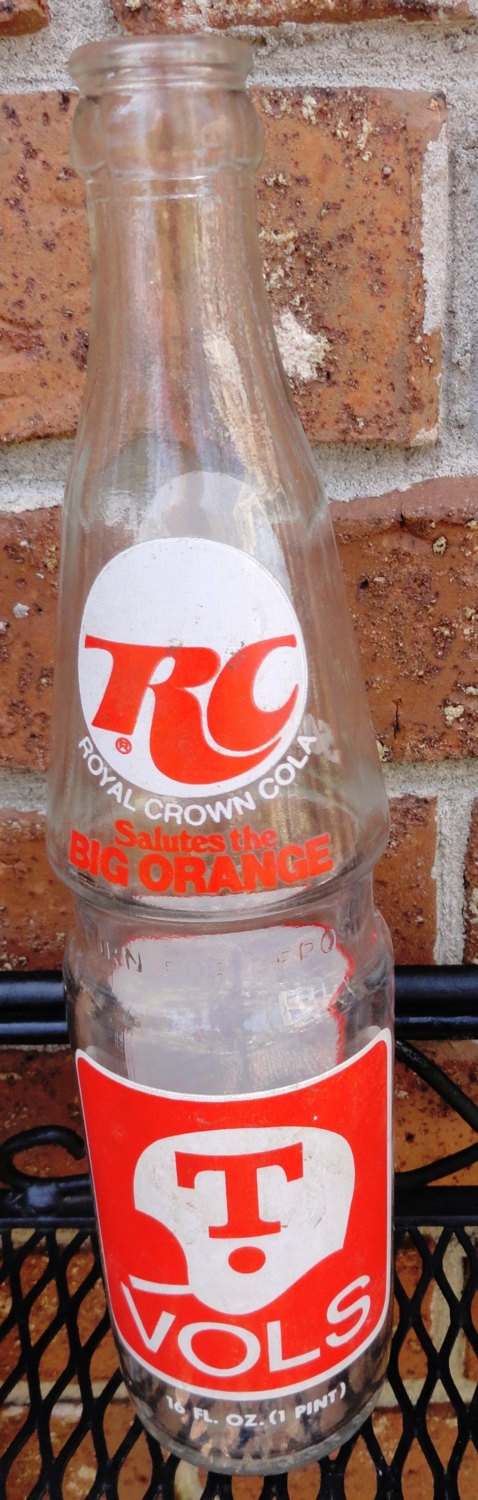 Royal Crown Cola Bottle with University of Tennessee Football Logo and 1975 Schedule, Vintage Souvenir Soda Bottletant Collection. $8.00, via Etsy.