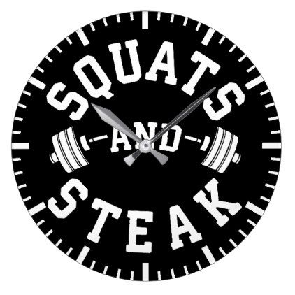 Squats and Steak Leg Day - Funny Workout Large Clock - home gifts cool custom diy cyo