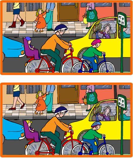 Encuentra todas las diferencias entre estos dos dibujos a color #juego #infantil #hijos