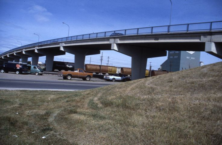 The 45th St overpass, 1980. The overpass was removed in 1991. Red Deer, AB