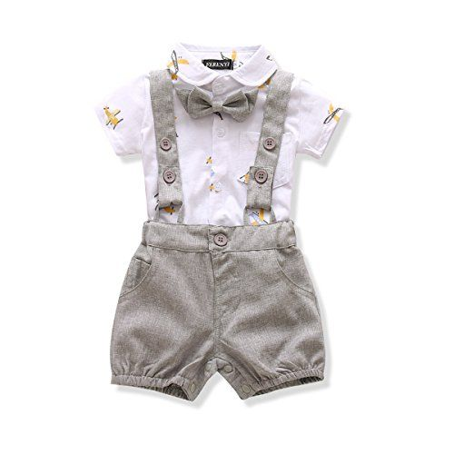 baby clothing | Ferenyi US Baby Boys Bowtie Gentleman Romper Jumpsuit Overalls Rompers (13-18 months, Gray 2)