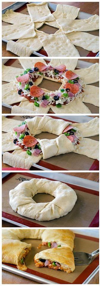 Blätterteig Ring mit Wurst und Käse und Gemüse
