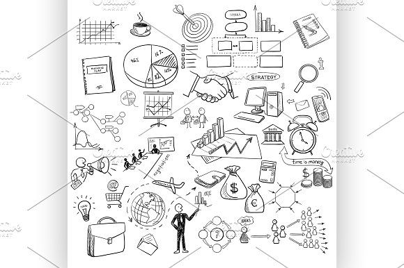 hand draw doodle business Graphics hand draw doodle web charts business finanse elements on chalk board. Concept - graph, chart, pie, a by Netkoff