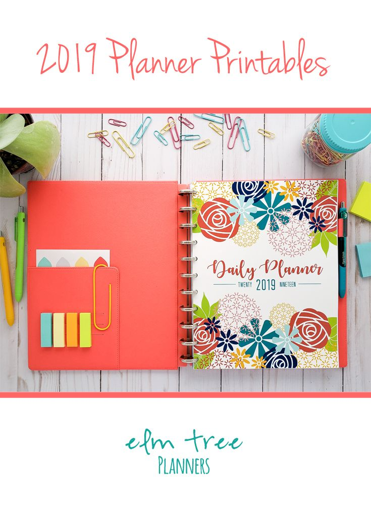 2019 Daily Planner Printable with Meal Planning | Weekly