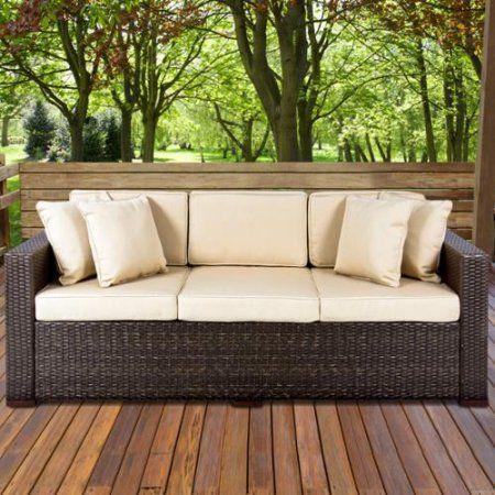 Outdoor Wicker Patio Furniture Sofa 3 Seater Luxury Comfort Brown Wicker Couch - Walmart.com
