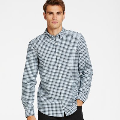 Timberland Men's Gale River Small Check Oxford Shirt Orion Blue