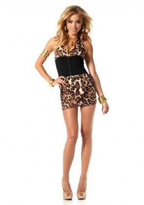 Leopard pattern neckholder dress, black-leo