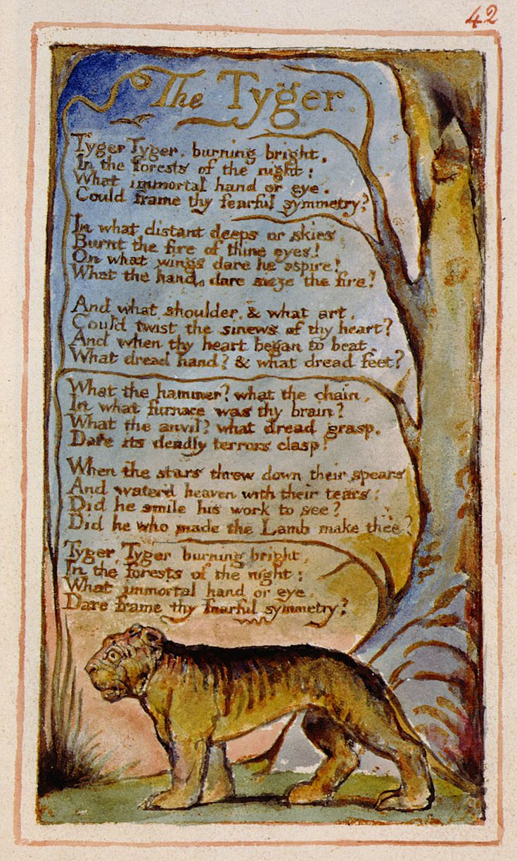 William Blake, pagina originale dai Songs of Experience, con The Tyger