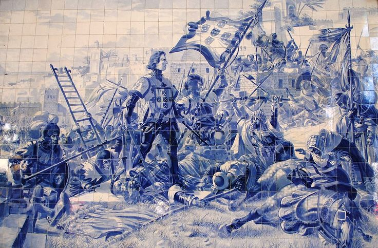 Panel of azulejos by Jorge Colaço (1864-1942) at the São Bento railway station, depicting Prince Henry the Navigator during the conquest of Ceuta, 21 August 1415