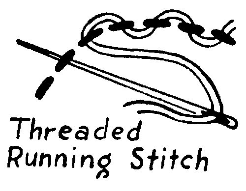 threaded running stitch - Outline design in running stitch, then weave a thread in & out of running stitch. A contrasting thread may be used if desired.