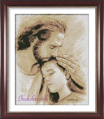 jesus always loves you, christ with a child, cross stitch pattern. Simple and easy stitch, with 7 colors full stitch only.
