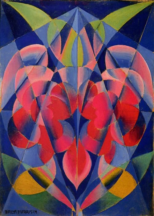 "Giacomo Balla (1871–1958) was an Italian composer and painter. Around 1902, he taught Divisionist techniques to Umberto Boccioni and Gino Severini Influenced by Filippo Tommaso Marinetti, Giacomo Balla adopted the Futurism style, creating a pictorial depiction of light, movement and speed. He was signatory to the Futurist Manifesto in 1910, and began designing and painting Futurist furniture, also created Futurist ""antineutral"" clothing."