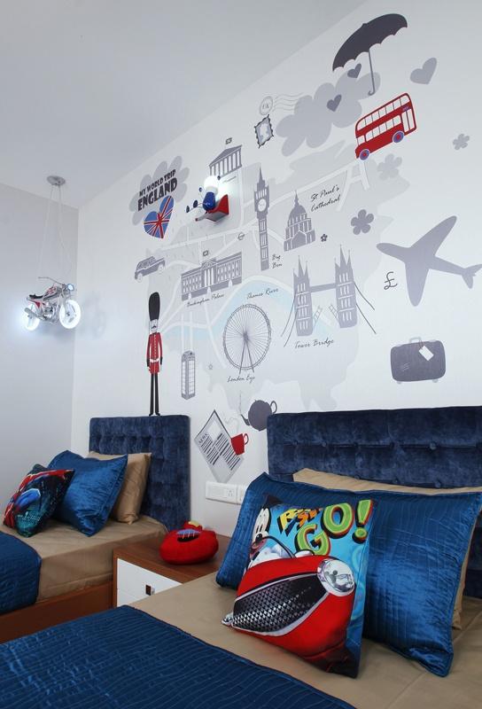 Kids Room - London Theme - Skyline Ivy League    SAVIO and RUPA Interior Concepts Bangalore | professional apartment interior designers Bangalore | Modern villa Interior Designers | Residential Interior Designs