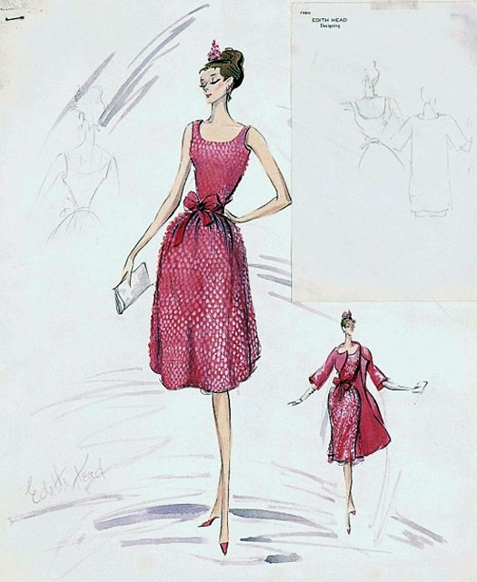 Edith Head sketch for Audrey Hepburn in BREAKFAST OF TIFFANY'S (1961)