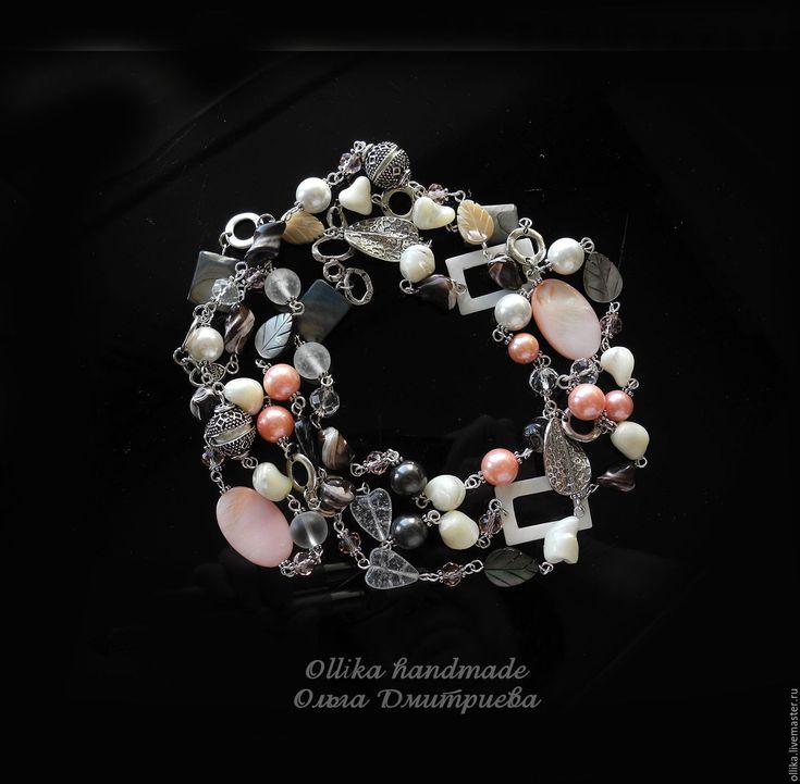 Купить Колье Нежная Геометрия, многорядное украшение на шею - бусы с жемчугом майорка, серьги в подарок