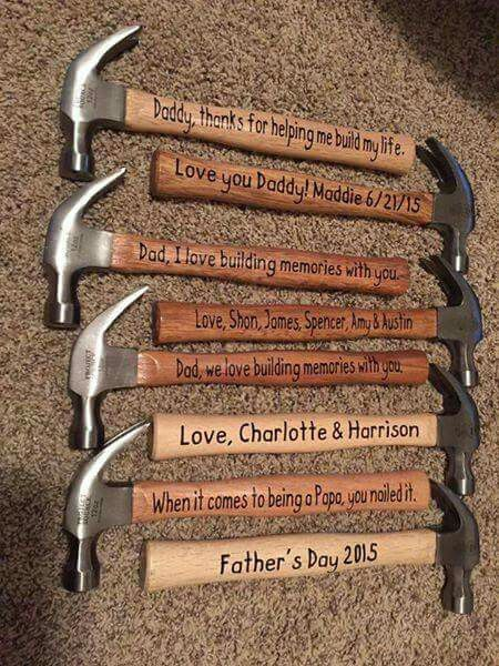 Hammers with vinyl on them. Make sure to seal if going to be used! Father's day gift