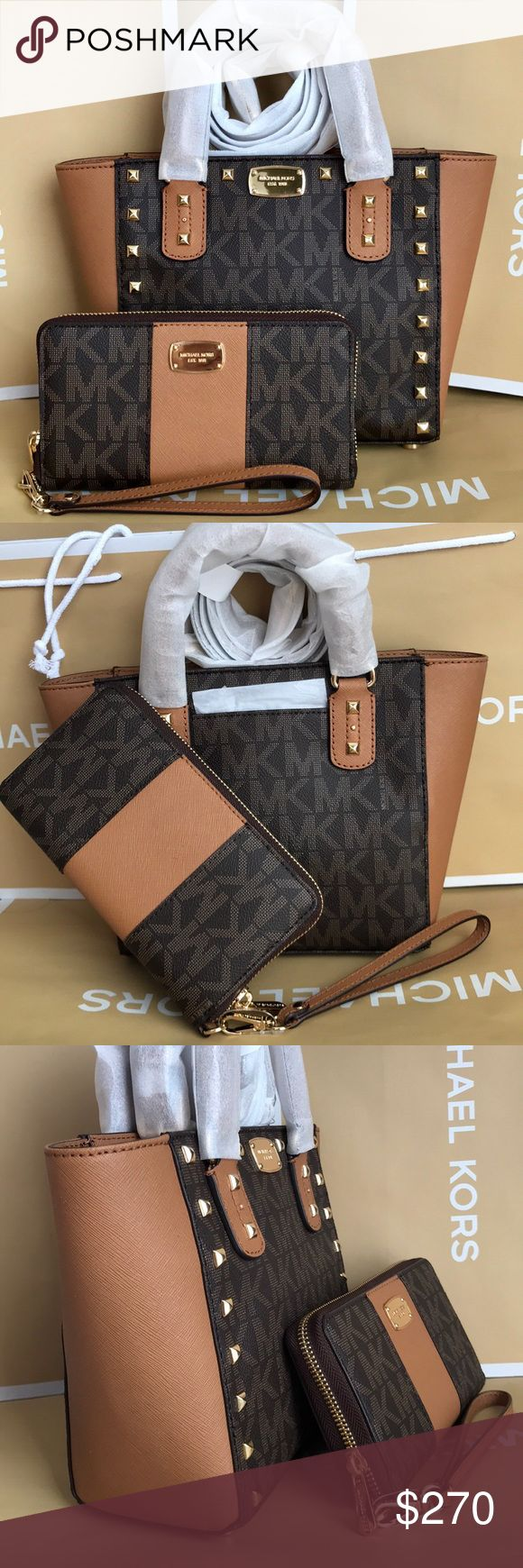 Michael Kors Set 100% Authentic Michael Kors Purse Crossbody and Wallet, brand new!color Brown/Acorn Michael Kors Bags Crossbody Bags