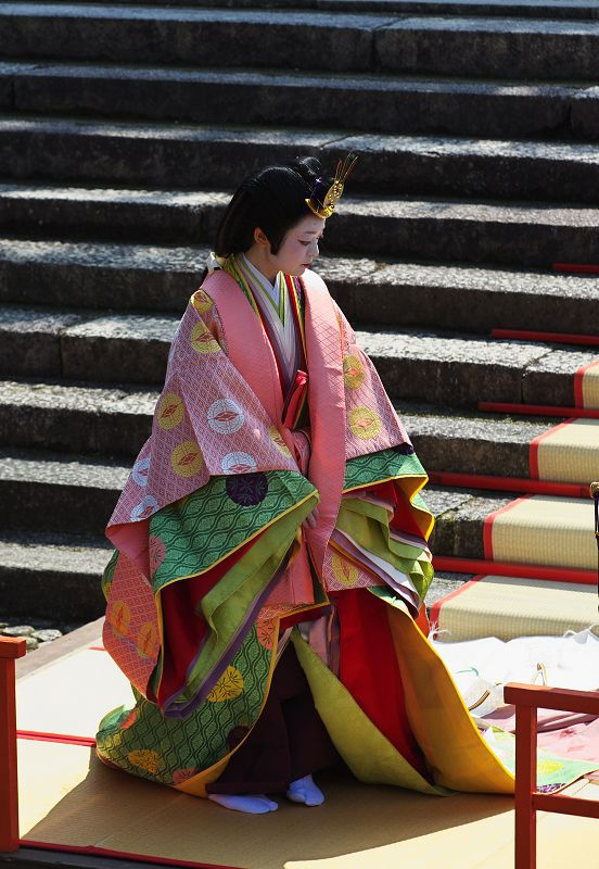 """junihitoe heian is an extremely elegant and highly complex kimono that was only worn by court-ladies in Japan. Literally translated, it means """"twelve-layer robe""""."""