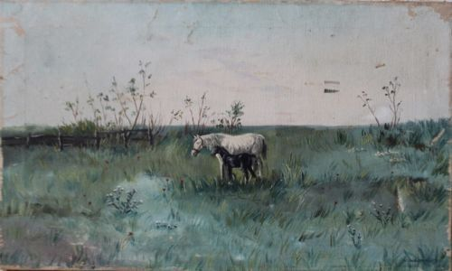 Horses-in-the-Meadow-Vintage-oil-painting