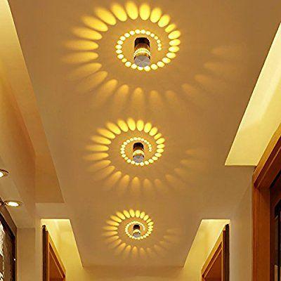 Coocnh Applique Murale Interieur LED Effet Moderne 3W Jaune En Aluminium  Lampe De Mur Decorative Pour