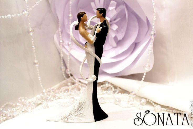 Купить Фигурка на свадебный торт - чёрно-белый, жених и невеста, фигурка на торт, на свадьбу