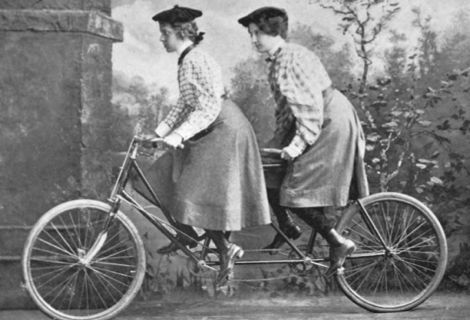 Riding a tandem, but we did look a little younger than these ladies!