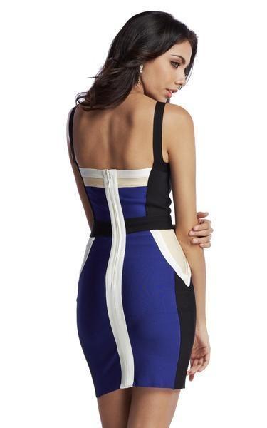 0d2e36ed44 Color Block Blue Bodycon Bandage Dress in 2019