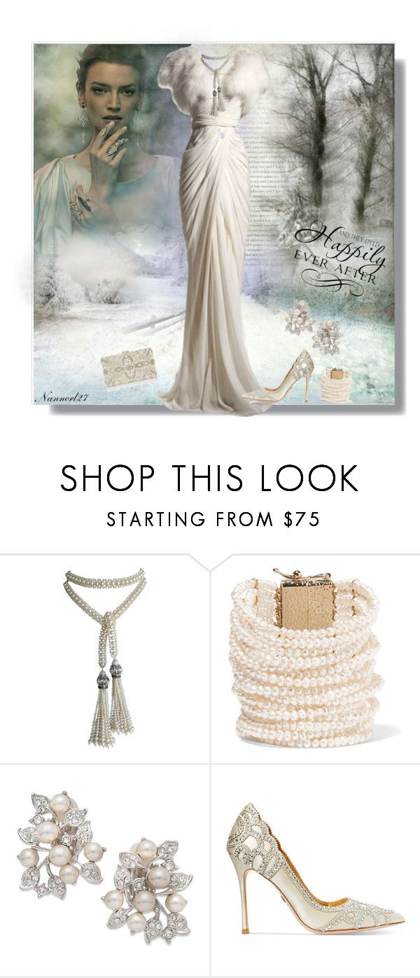 """""""Winter Bride..."""" by nannerl27forever ❤ liked on Polyvore featuring Marina J., Rosantica, Nina, Badgley Mischka, WALL and Monsoon"""
